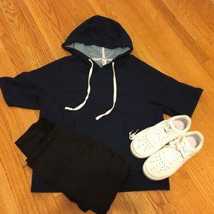 Short sleeve blue hoodie